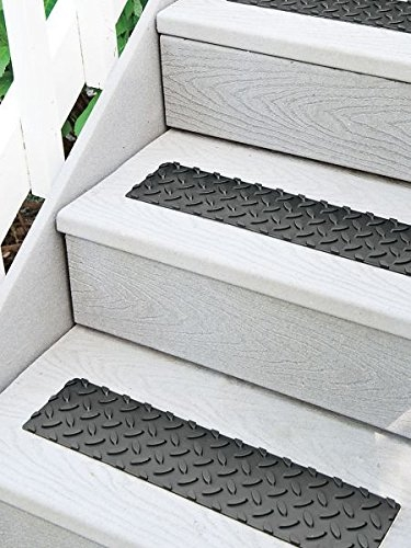 Non Slip Stair Treads 17 Self Adhesive Rubber Set Of 12 Black | Self Stick Stair Treads | Slip Resistant | Modern | Vinyl Covered | Contemporary | Pad