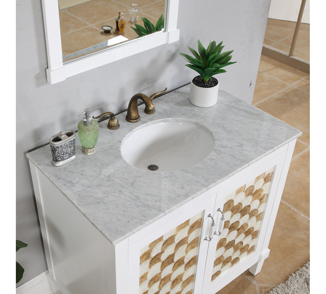 infurniture 36 seashell panel single sink bathroom vanity with carrara marble top