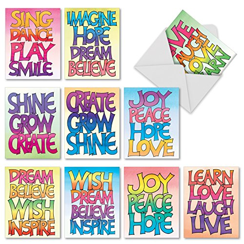 'M2317 WORD STACKS' 10 Assorted Thank You Greeting Cards ...