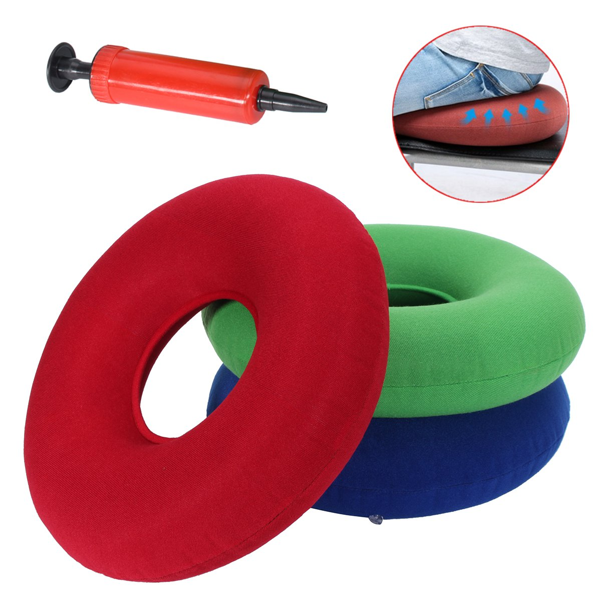 14 original donut cushion inflatable donut pillow for tailbone pain relief hemorrhoid treatment bed sores prostatitis