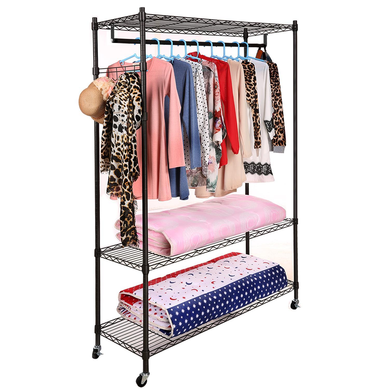 portable 3 tier wire shelving clothes shelf closet organizer garment rack side hooks wheels