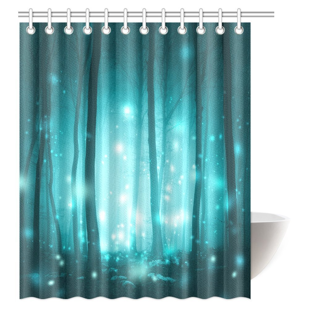 mypop magic fairytale woodland shower curtain magical foggy forest trees with artistic fireflies light background fabric bathroom set with hooks 60
