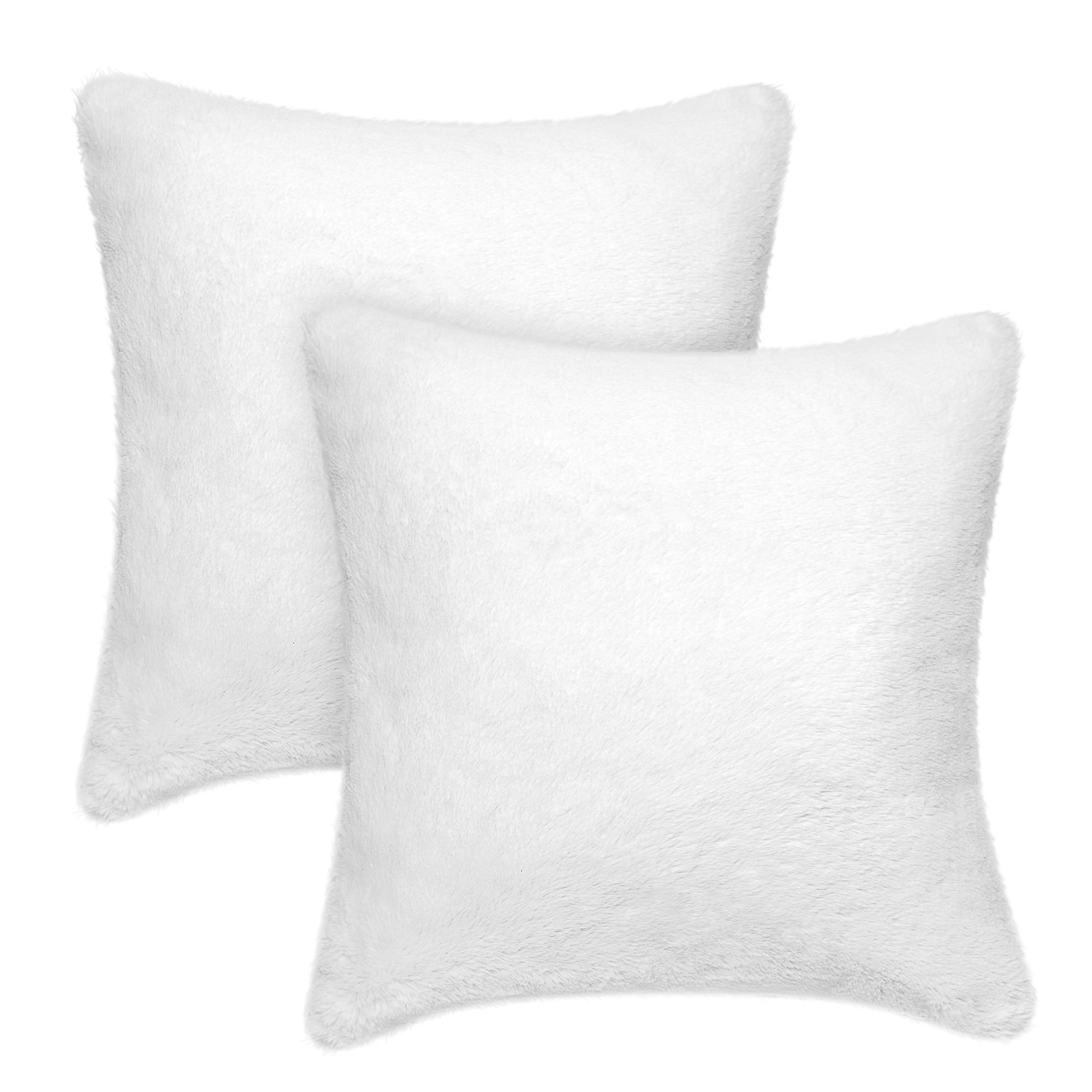 better homes gardens faux rabbit fur decorative throw pillow 20 x 20 white 2 pack