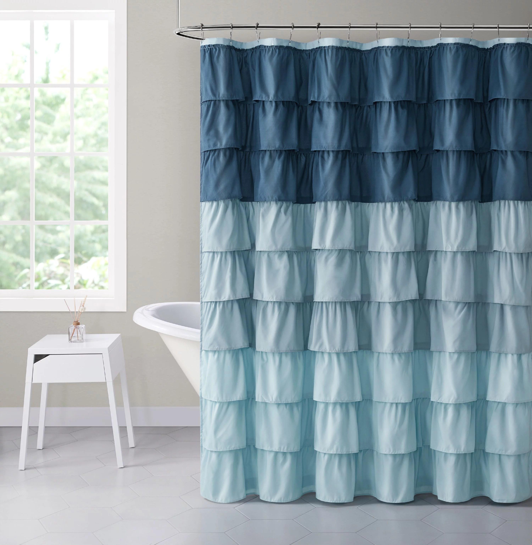 shabby ruffled fabric shower curtain blue