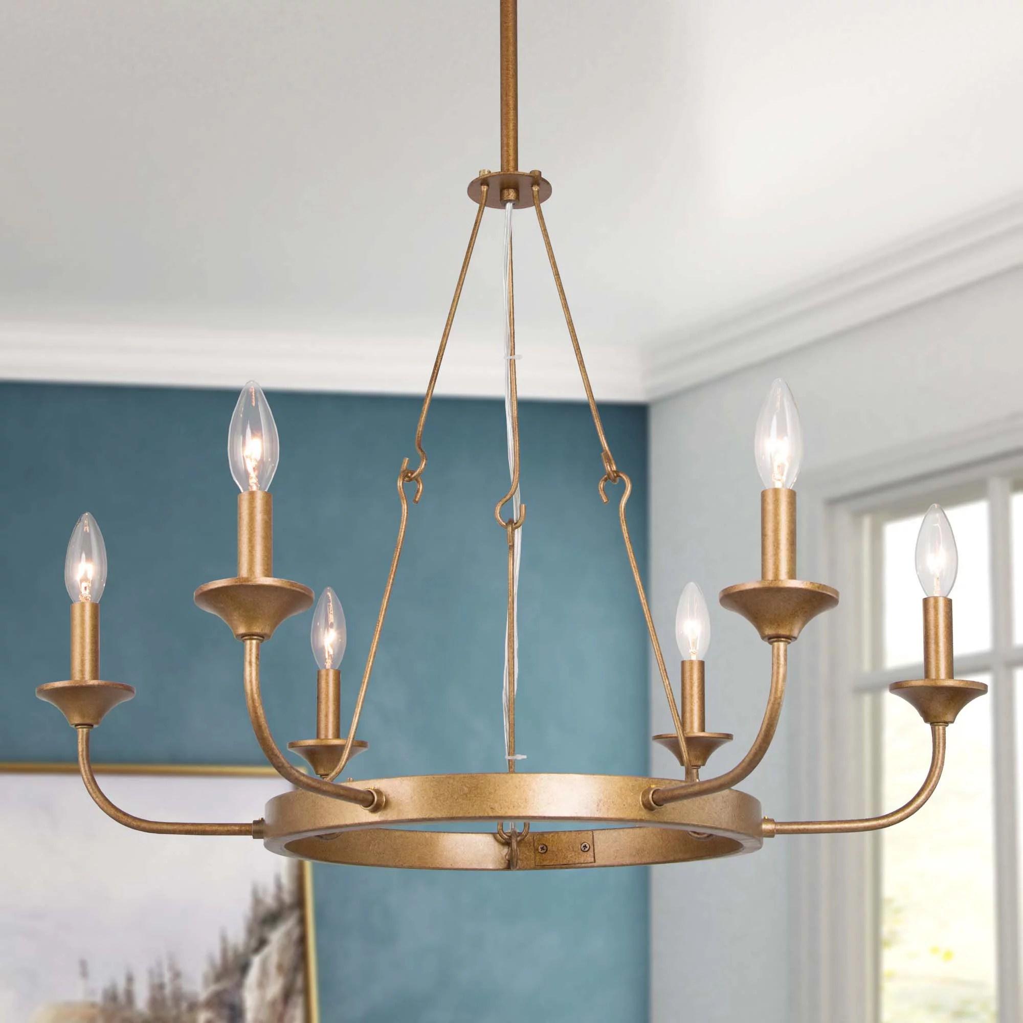 dark golden wagon wheel chandelier modern circular living room lighting fixtures 6 lights walmart com