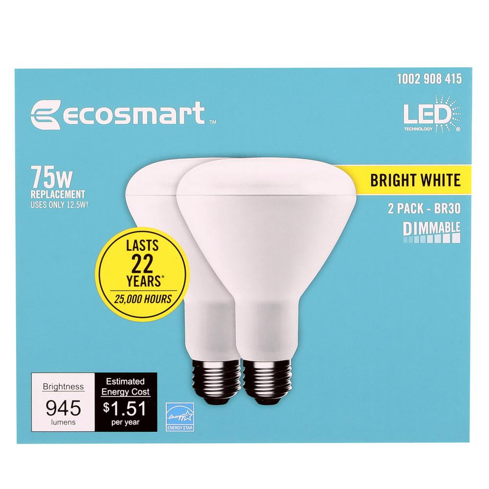 Ecosmart 75 Watt Equivalent Br30 Dimmable Energy Star Led Light Bulb Bright White 2 Pack Walmart Com Walmart Com