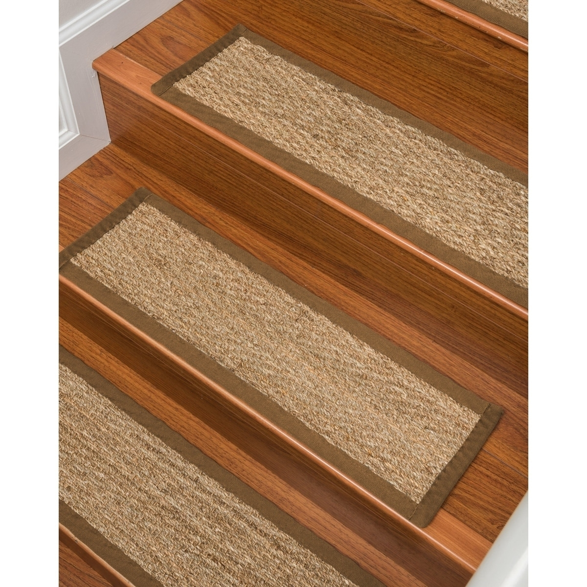 Natural Area Rugs Beach Seagrass Carpet Beige Malt Stair Tread | Seagrass Carpet On Stairs | Gray Wood | Hard Wearing | Grey | Stair Malay Chen Sisal | 80 20 Wool Carpet Stair