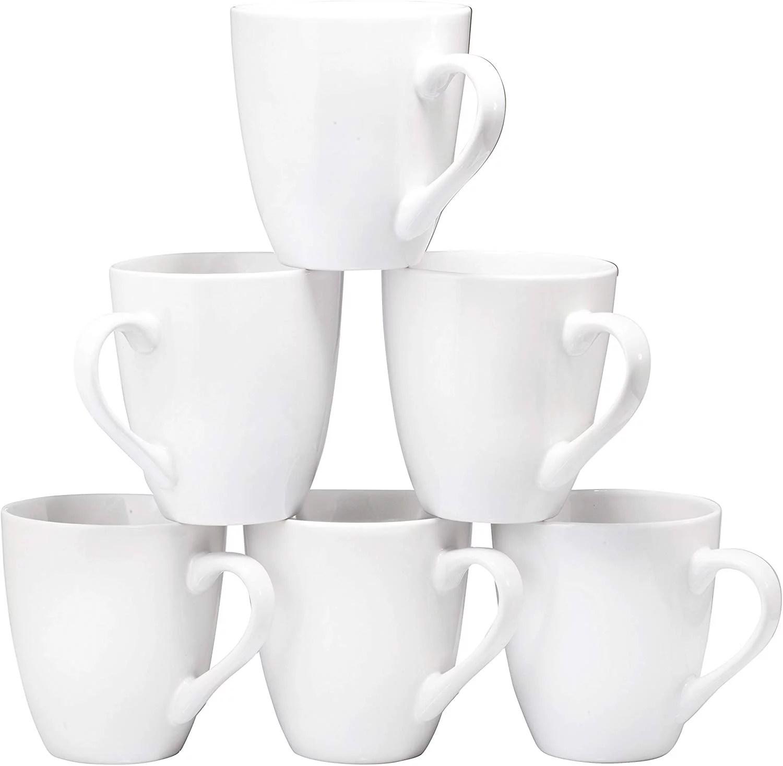 Coffee Mug Set Set Of 6 Large Sized 16 Ounce Ceramic Coffee Mugs Restaurant Coffee Mugs By Bruntmor White Walmart Com Walmart Com