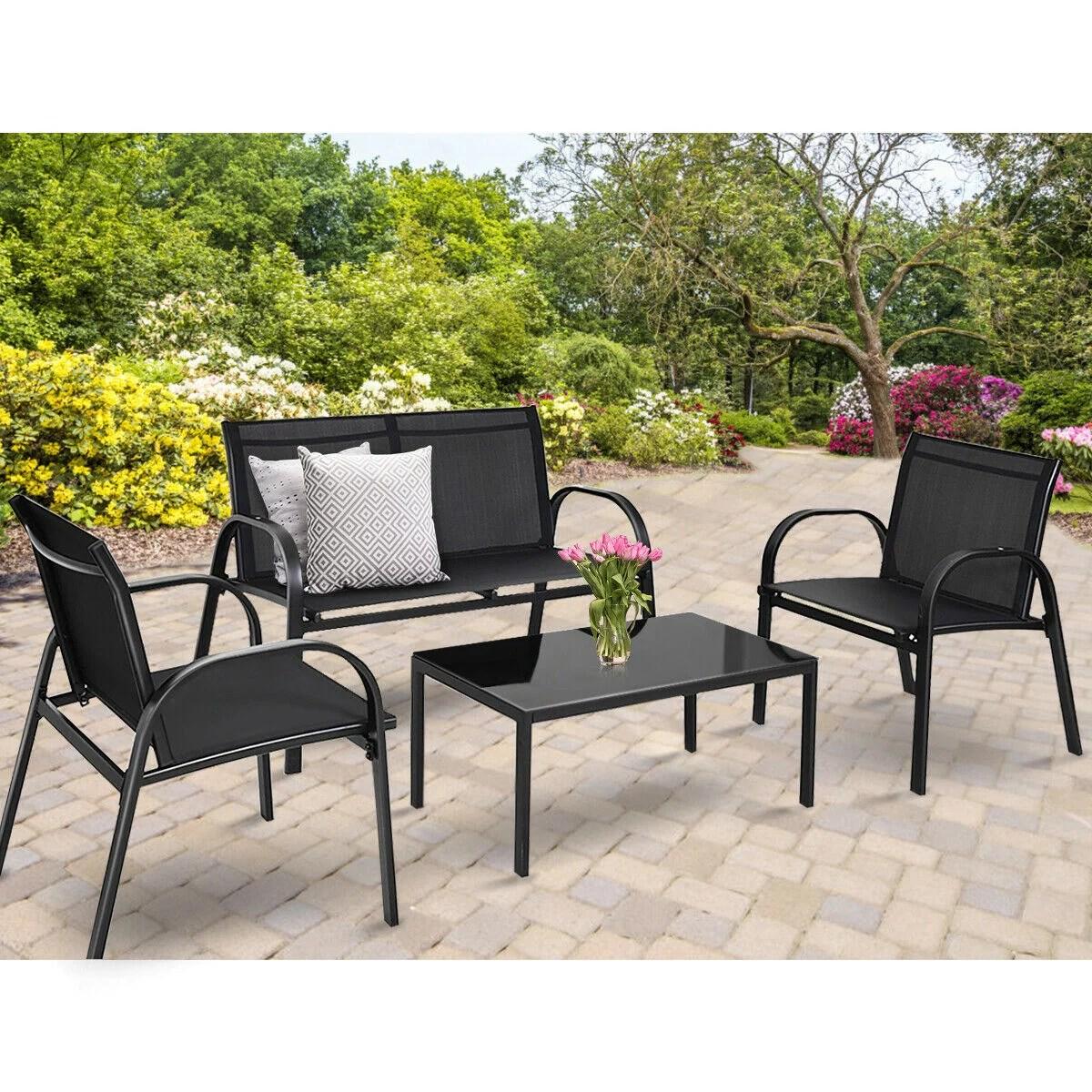 costway 4 pcs patio furniture set sofa coffee table steel frame garden deck black walmart com