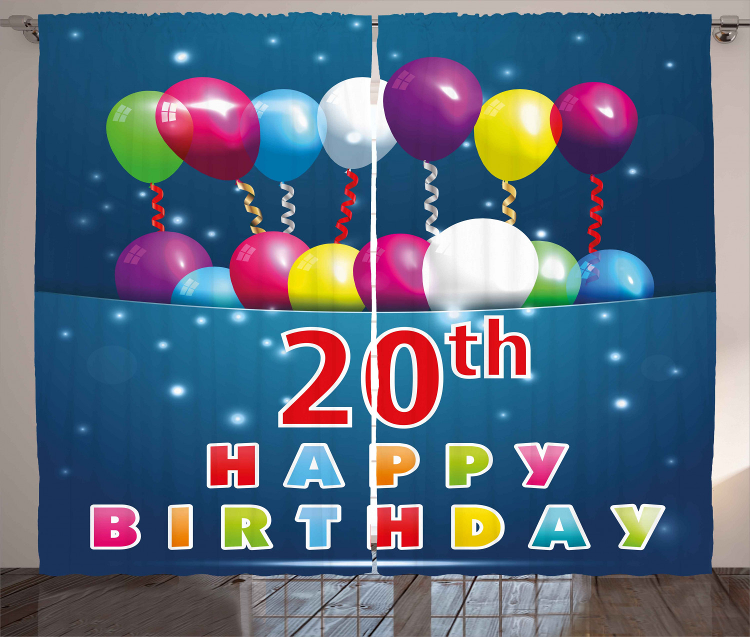 20th birthday decorations curtains 2 panels set sweet 20 birthday party with colorful balloons on blue backdrop window drapes for living room