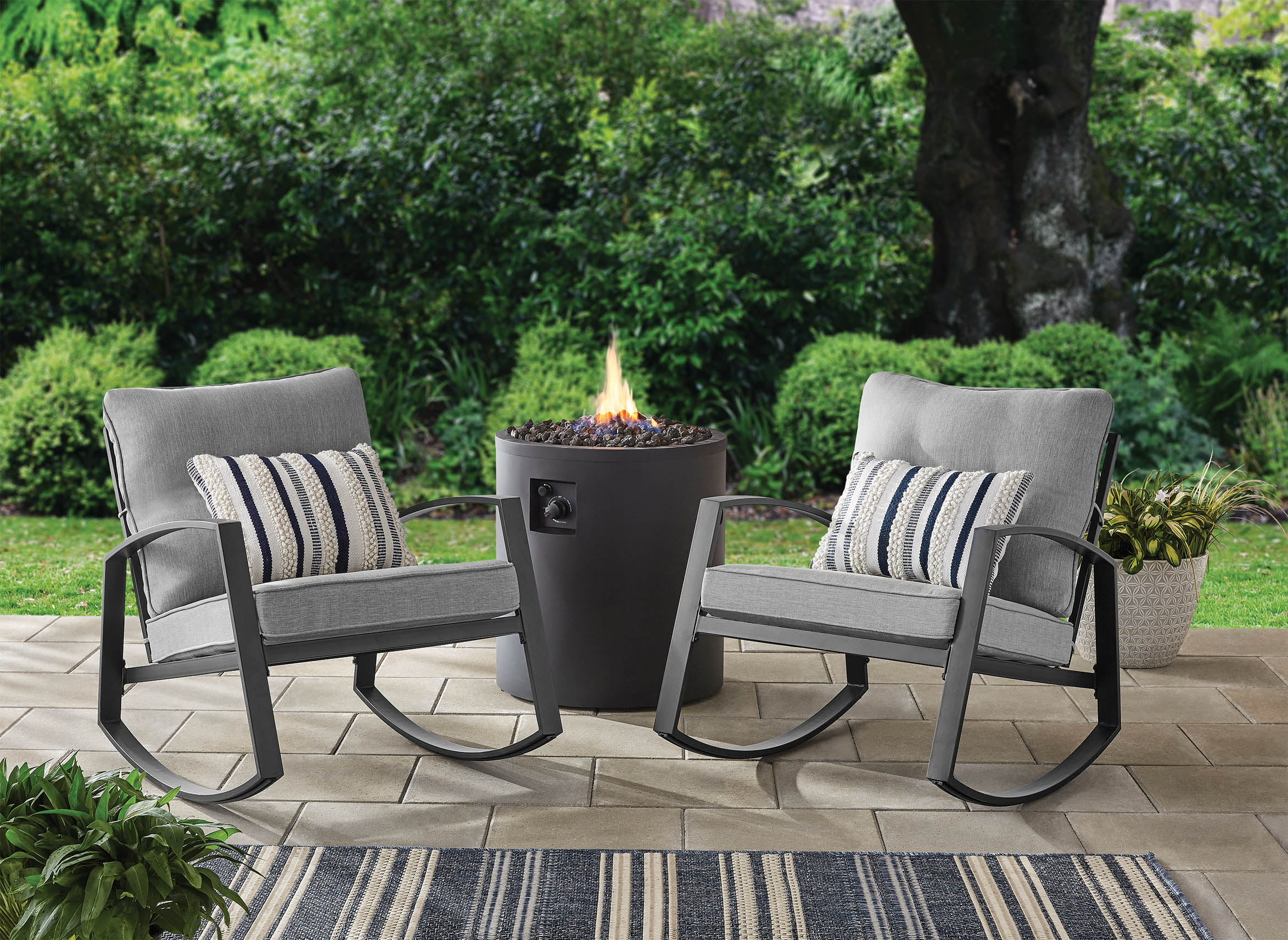 mainstays asher springs 2 piece steel cushioned rocking chair set grey