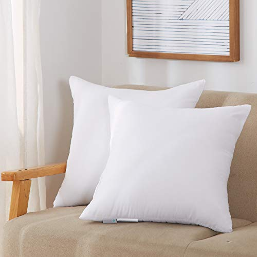 acanva throw pillow inserts soft couch stuffer hypoallergenic polyester square form washable cushion euro sham filler 20 2p white 2 piece