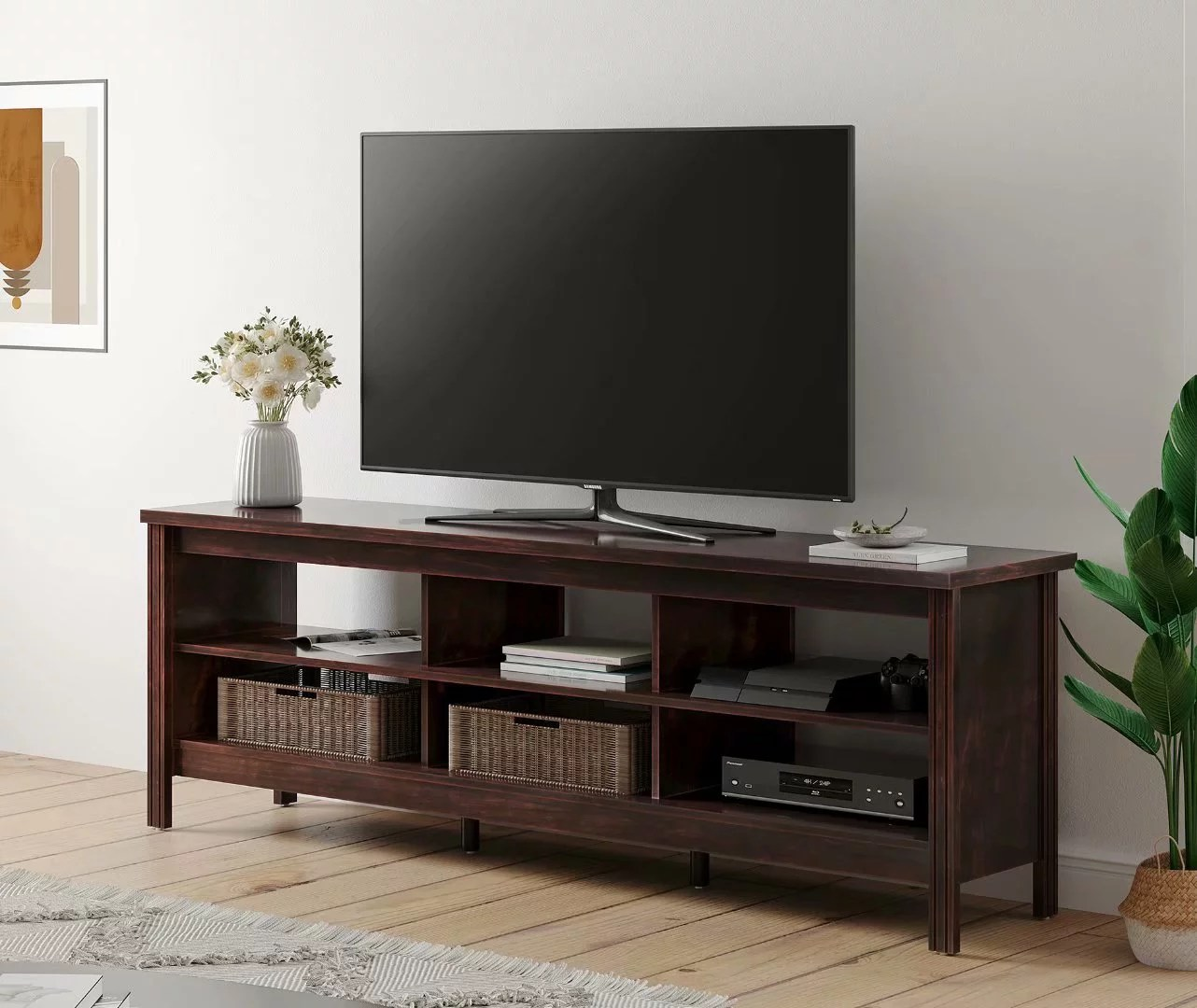 farmhouse tv stand for 75 inch flat screen wood tv console table storage cabinet living room entertainment center brown