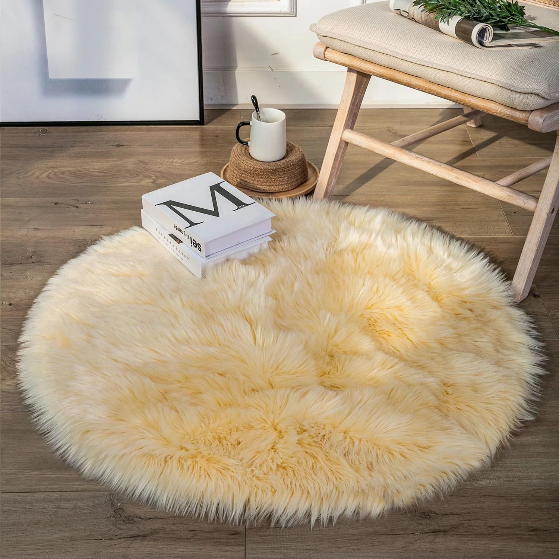 Phantoscope Deluxe Soft Faux Sheepskin Fur Series Decorative Indoor Shag Area Rug 3 X 3 Feet Round Light Yellow 1 Pack Walmart Com Walmart Com