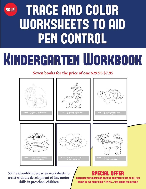 2 Kindergarten Workbook Trace And Color Worksheets To