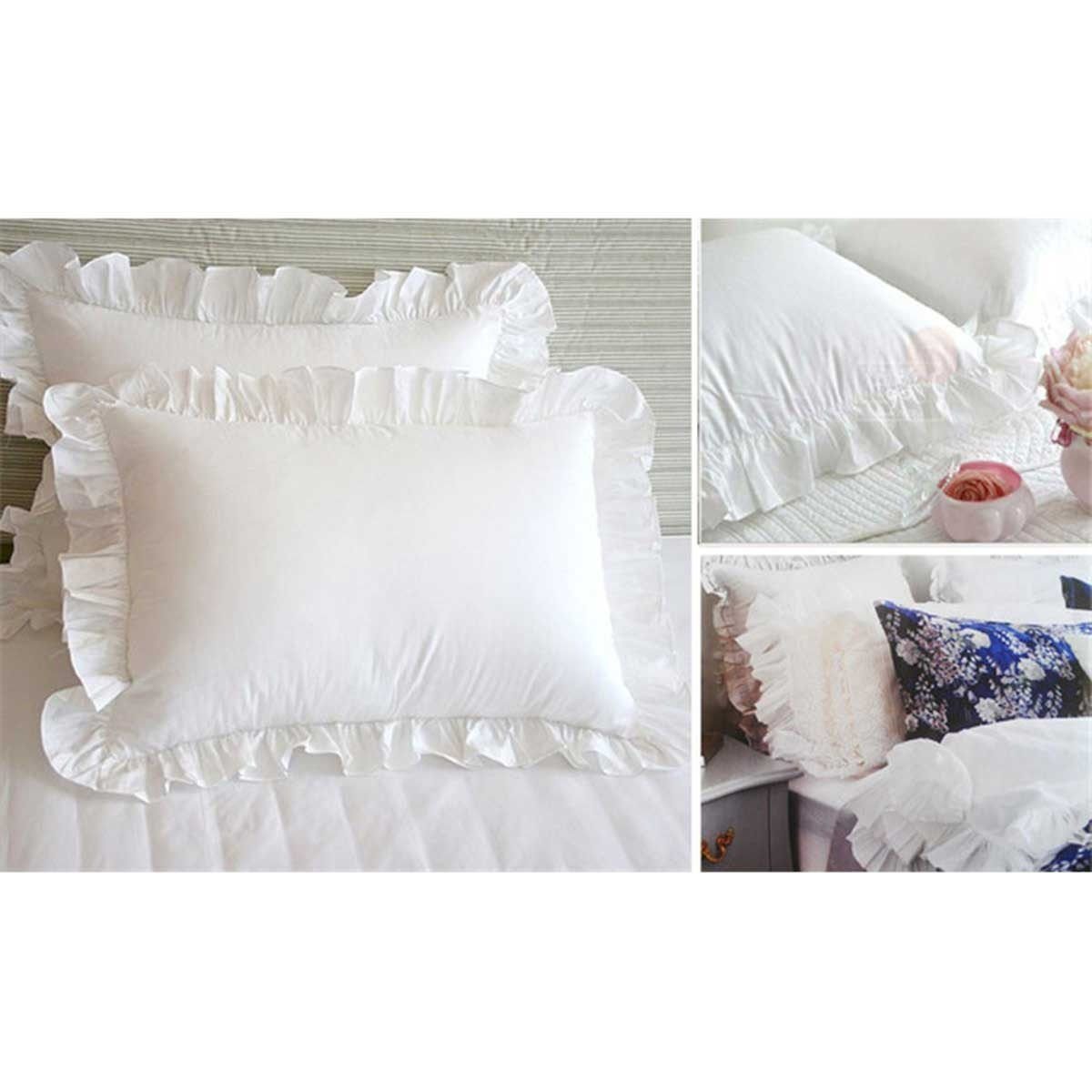 ruffle pillow shams decorative white cotton pillowcases with invisible zipper for bed decor