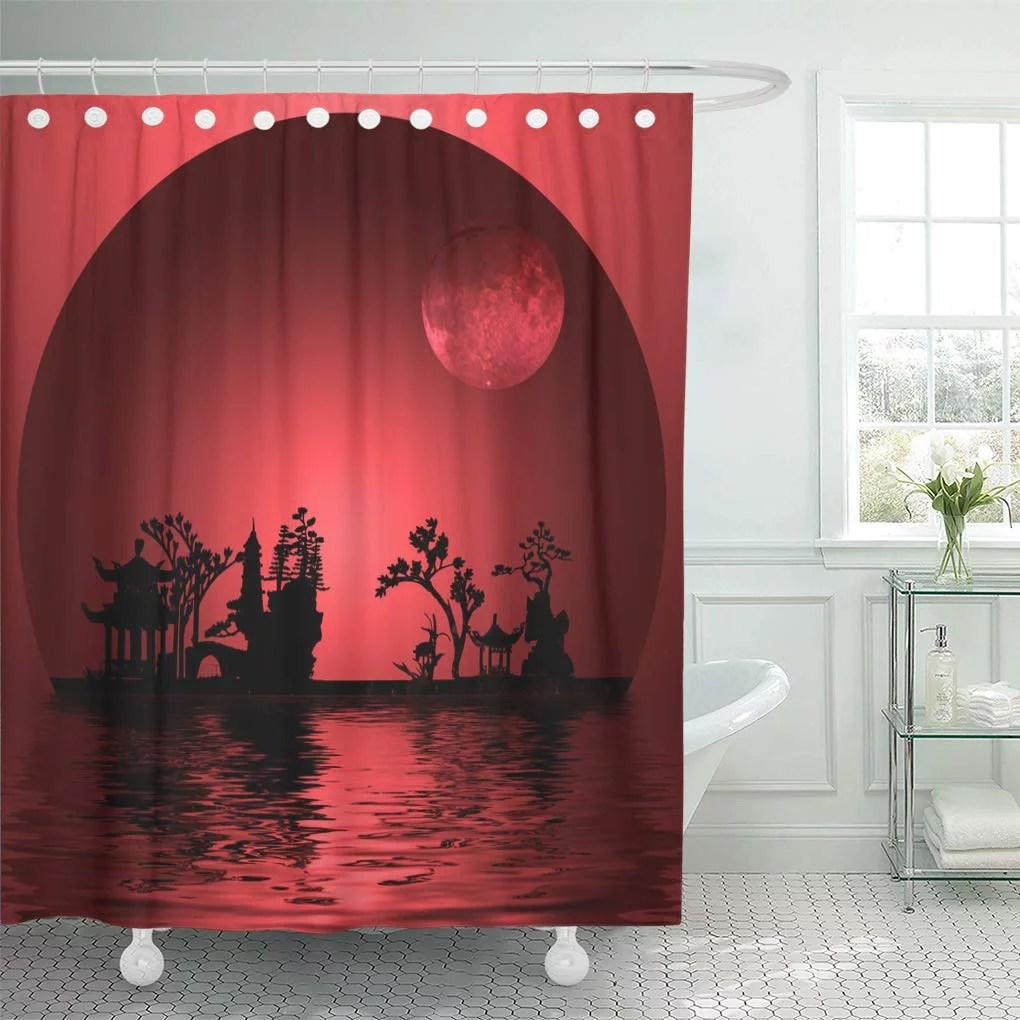 cynlon landscape moon ese art oriental silhouette bathroom decor bath shower curtain 66x72 inch walmart com