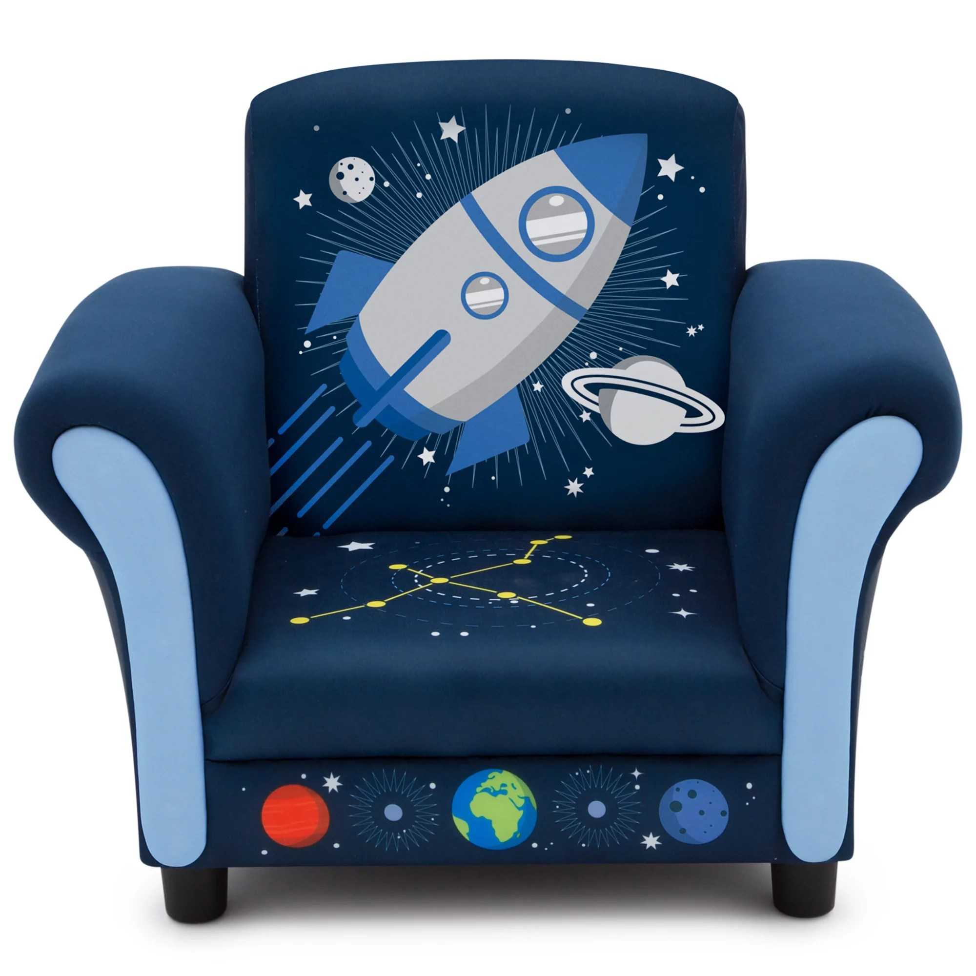 delta children space adventures blue upholstered sculpted chair