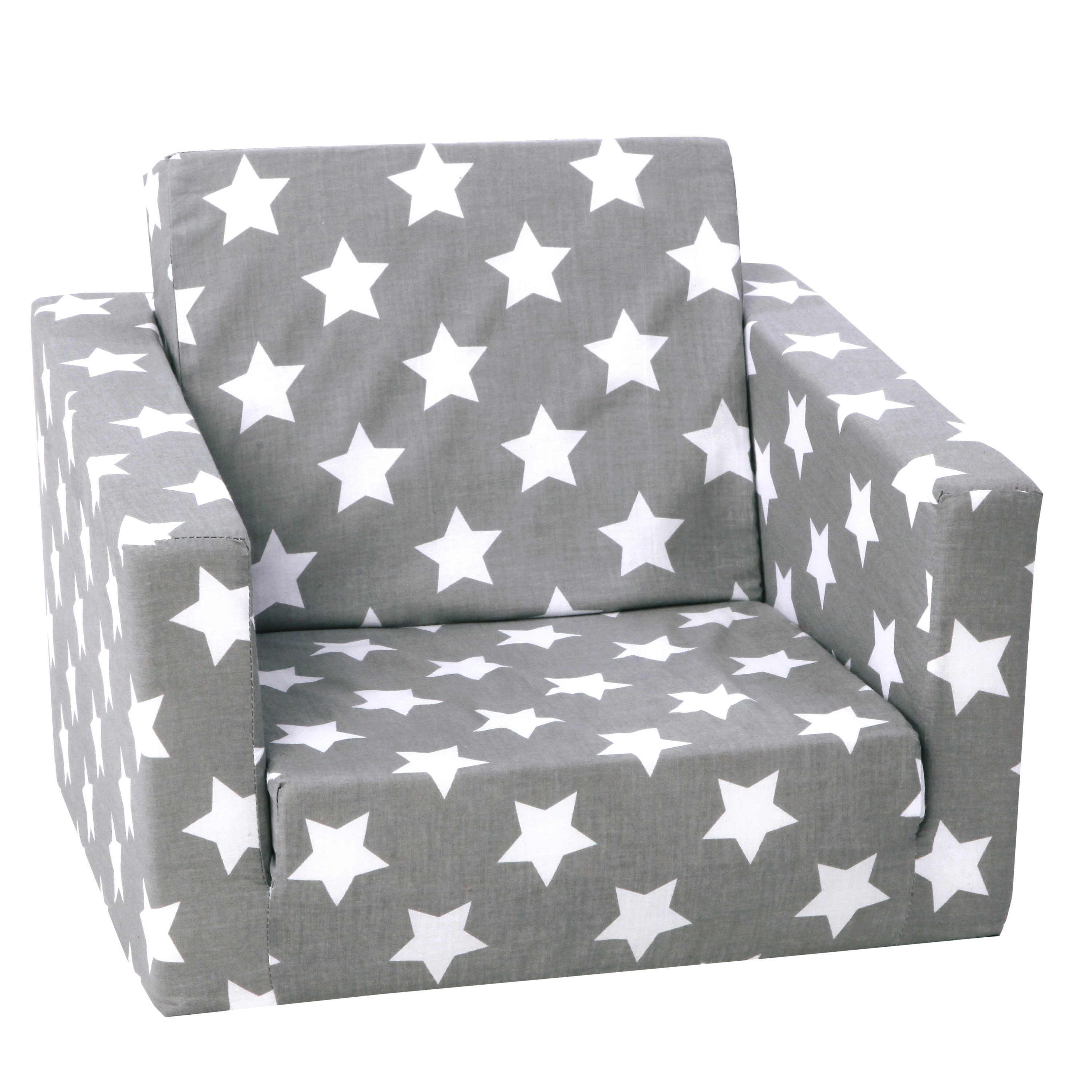 Delsit Toddler Chair Kids Sofa European Made Children S 2 In 1 Flip Open Foam Single Sofa Toddler Fold Out Chair Kids Couch Comfy Flip Out Lounge Gray With Stars