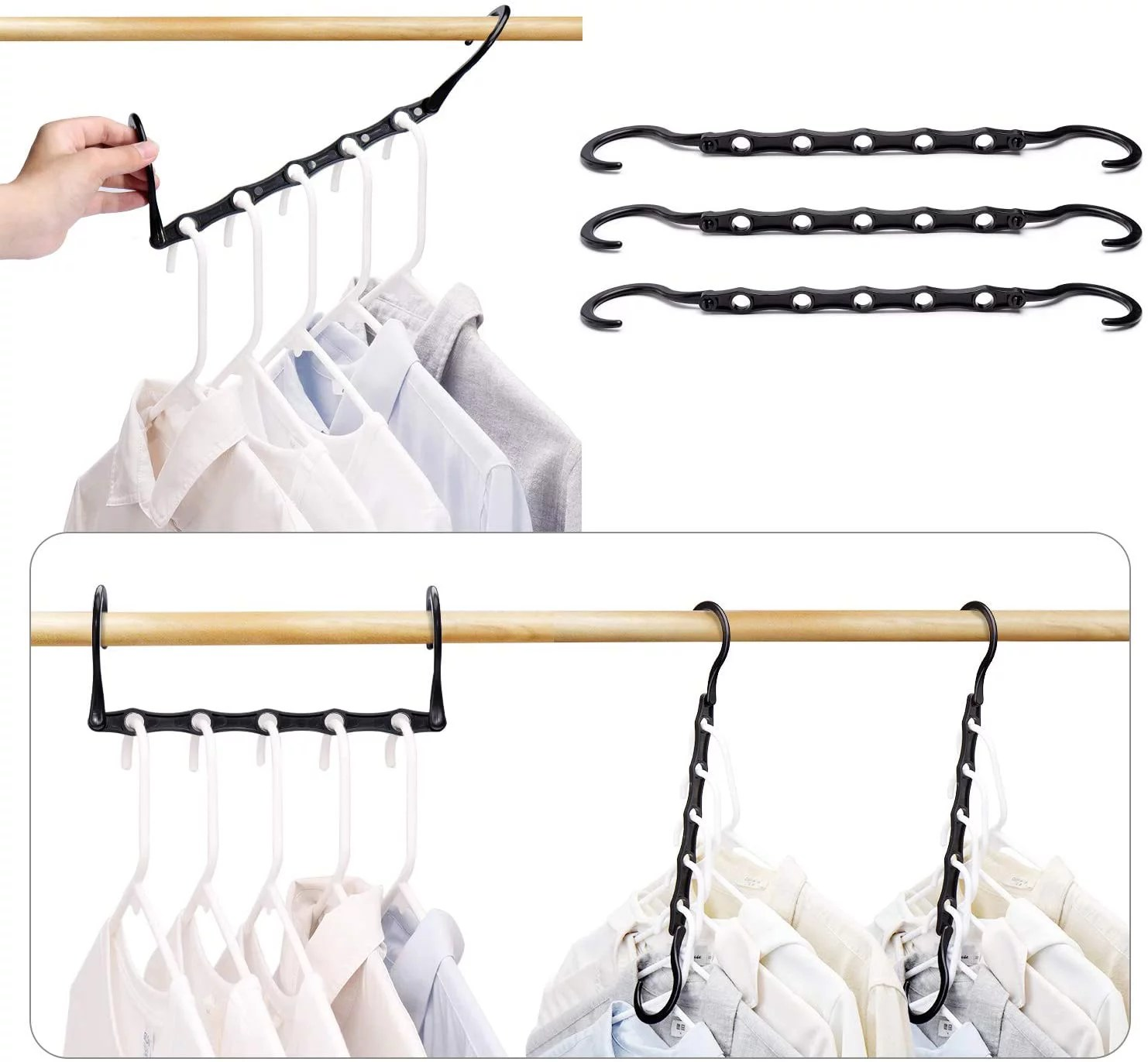 HOUSE DAY Black Magic Hangers Space Saving Clothes Hangers ... on Closet Space Savers Walmart  id=79685