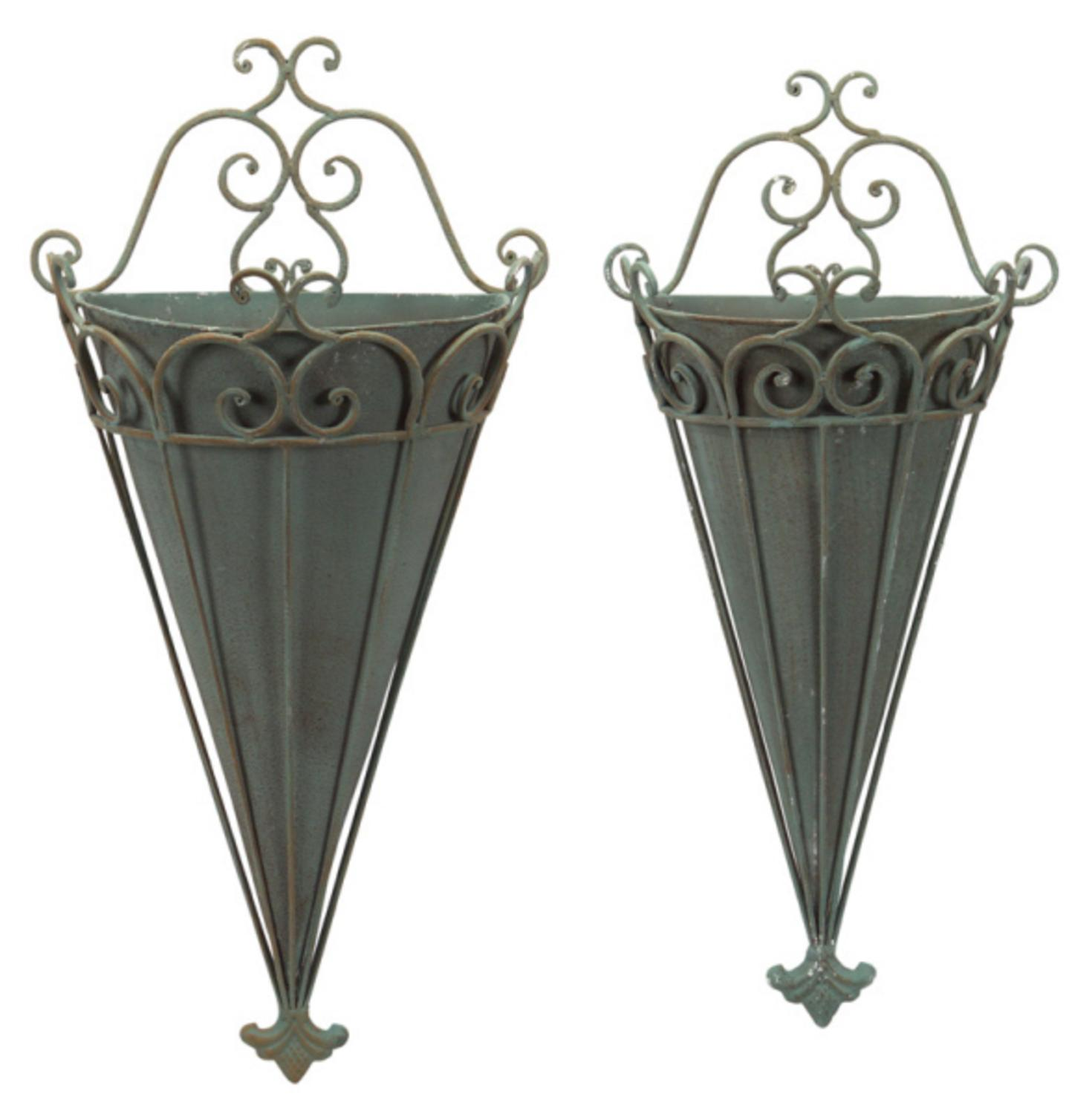Set of 2 Antique Gray Scrolled Metal Flower Pot Wall ... on Flower Wall Sconces id=45489