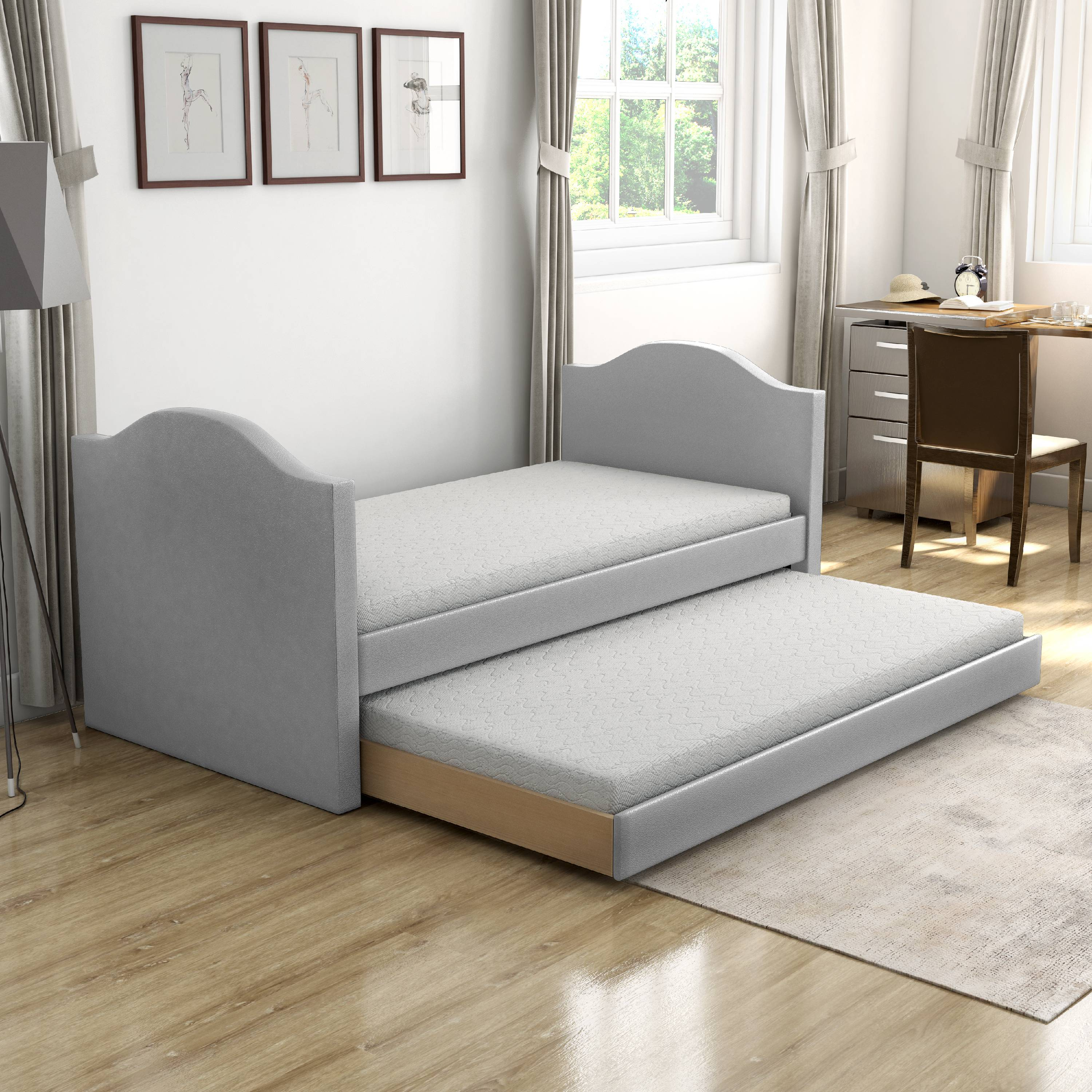 Premier Melissa Gray Upholstered Faux Leather Daybed With Trundle Bed Twin Walmart Com Walmart Com