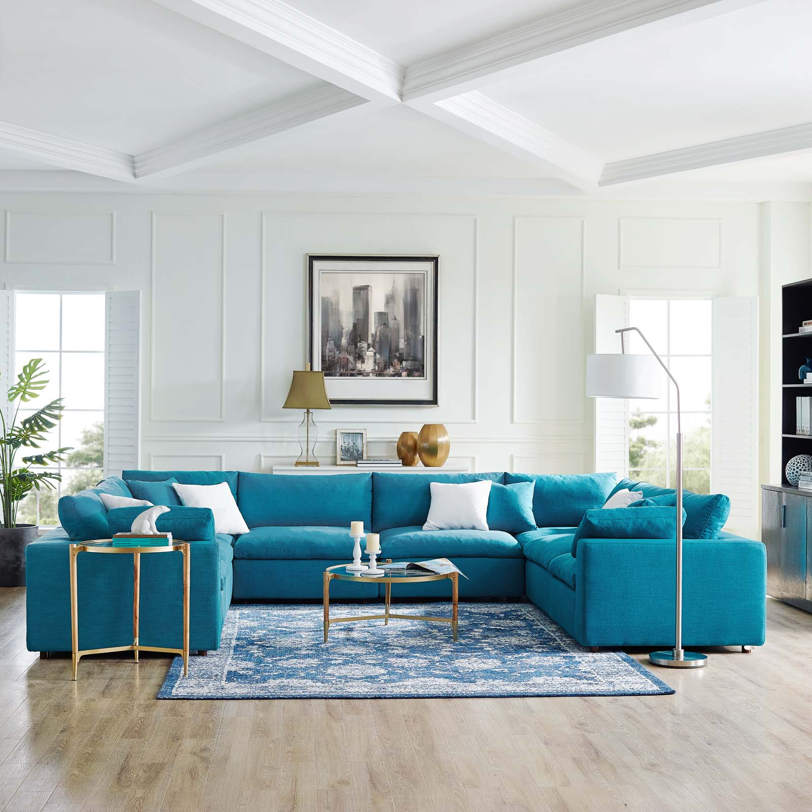 commix down filled overstuffed 8 piece sectional sofa set in teal walmart com