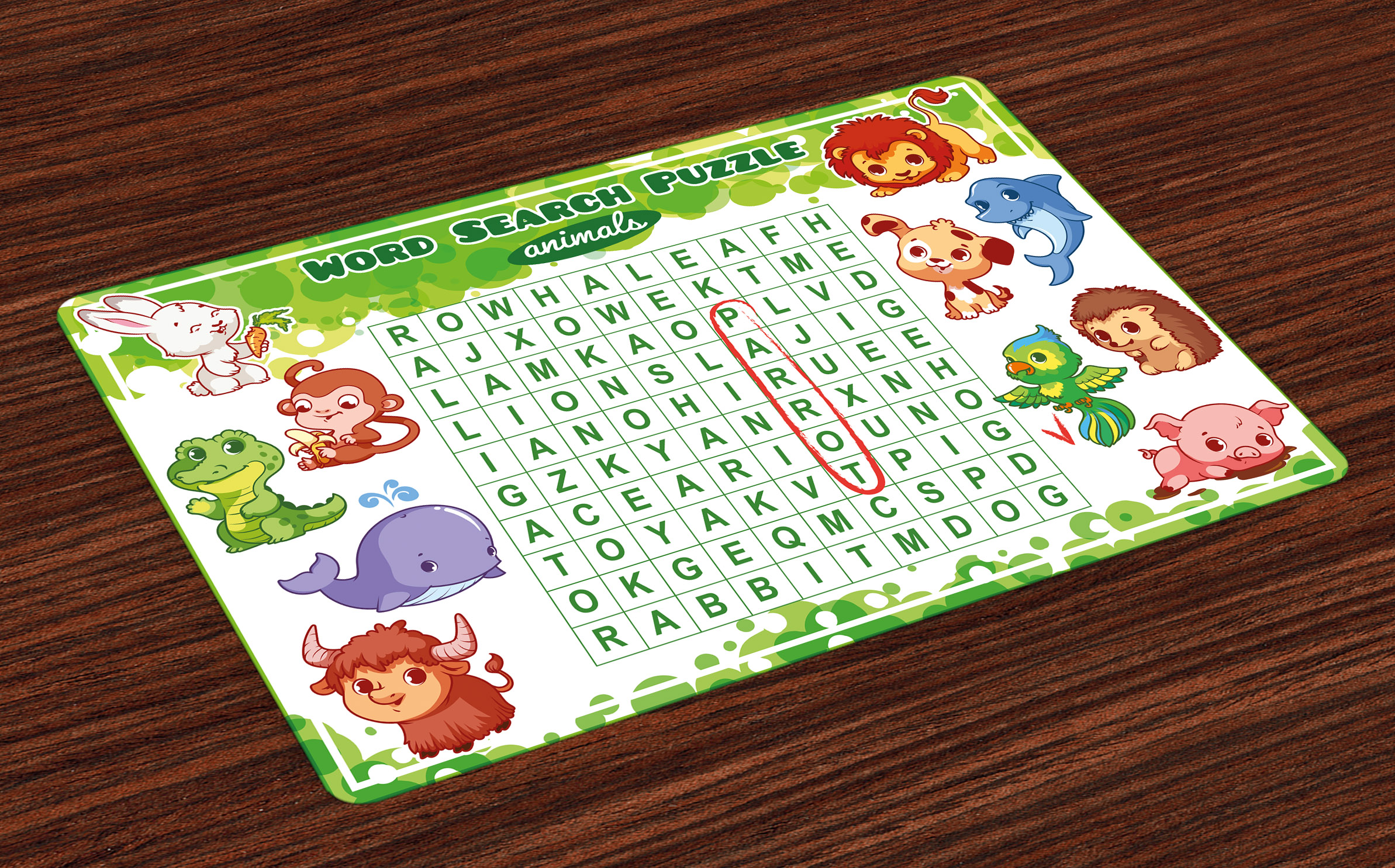 Word Search Puzzle Placemats Set Of 4 Educational Game For
