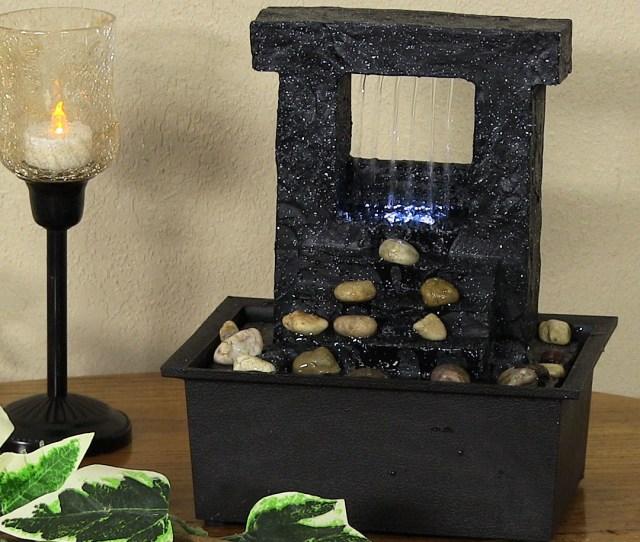 Sunnydaze Indoor Tabletop Falling Stream Water Fountain Small Desktop Relaxation Zen Waterfall Feature