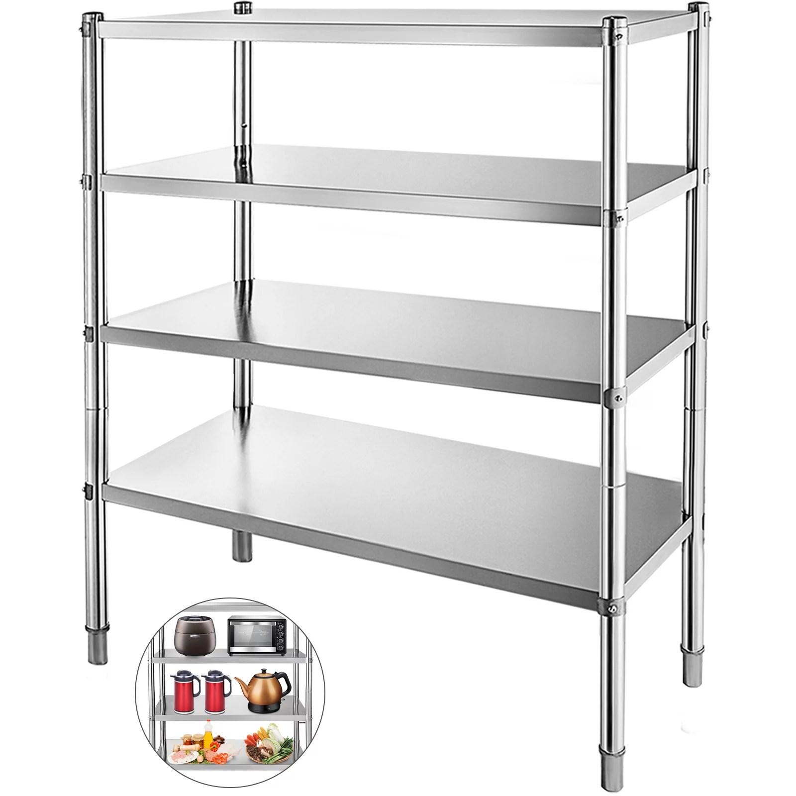 bestequip 4 tier shelf stainless steel shelving 330lb capacity per shelf commercial standing shelf unit display rack for kitchen office garage