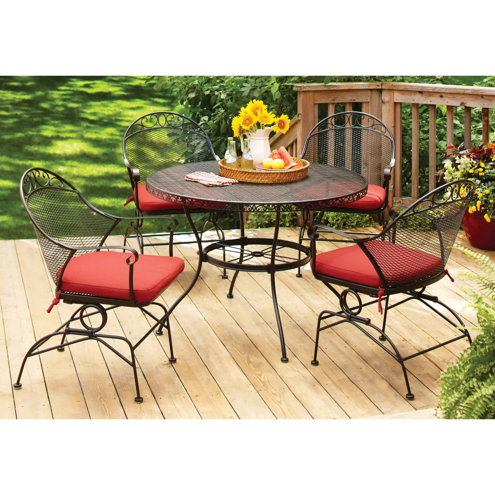 better homes and gardens wrought iron patio dining set clayton court cushioned 5 piece red walmart com