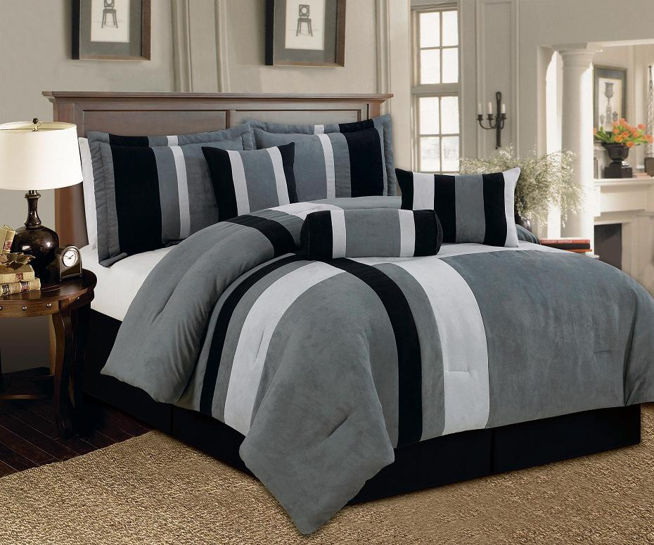 aberdeen california king size 7 piece luxurious comforter set micro suede soft bed in a bag patchwork black gray white