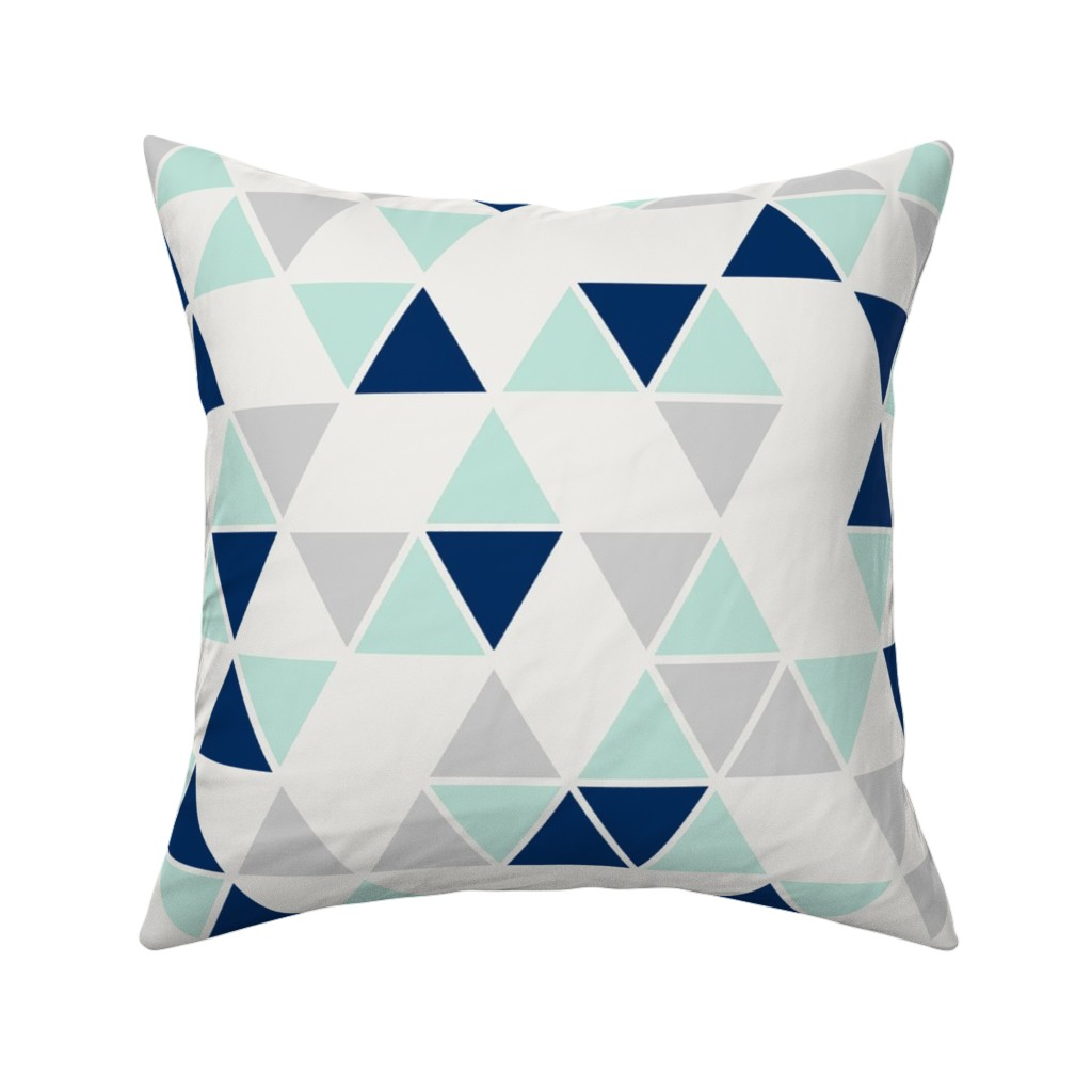 triangle triangles navy mint throw pillow cover w optional insert by roostery