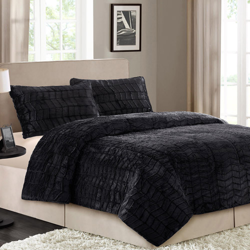 Better Homes Amp Gardens Bhg 3pc Faux Fur Mini Cmf Set Black F
