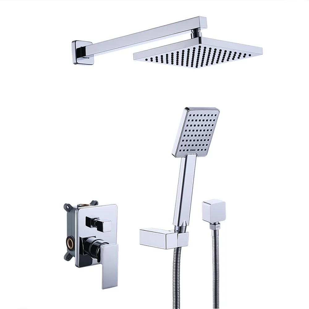 kes shower system bathroom single handle shower faucet trim valve body hand shower complete kit pressure balance modern square polished chrome