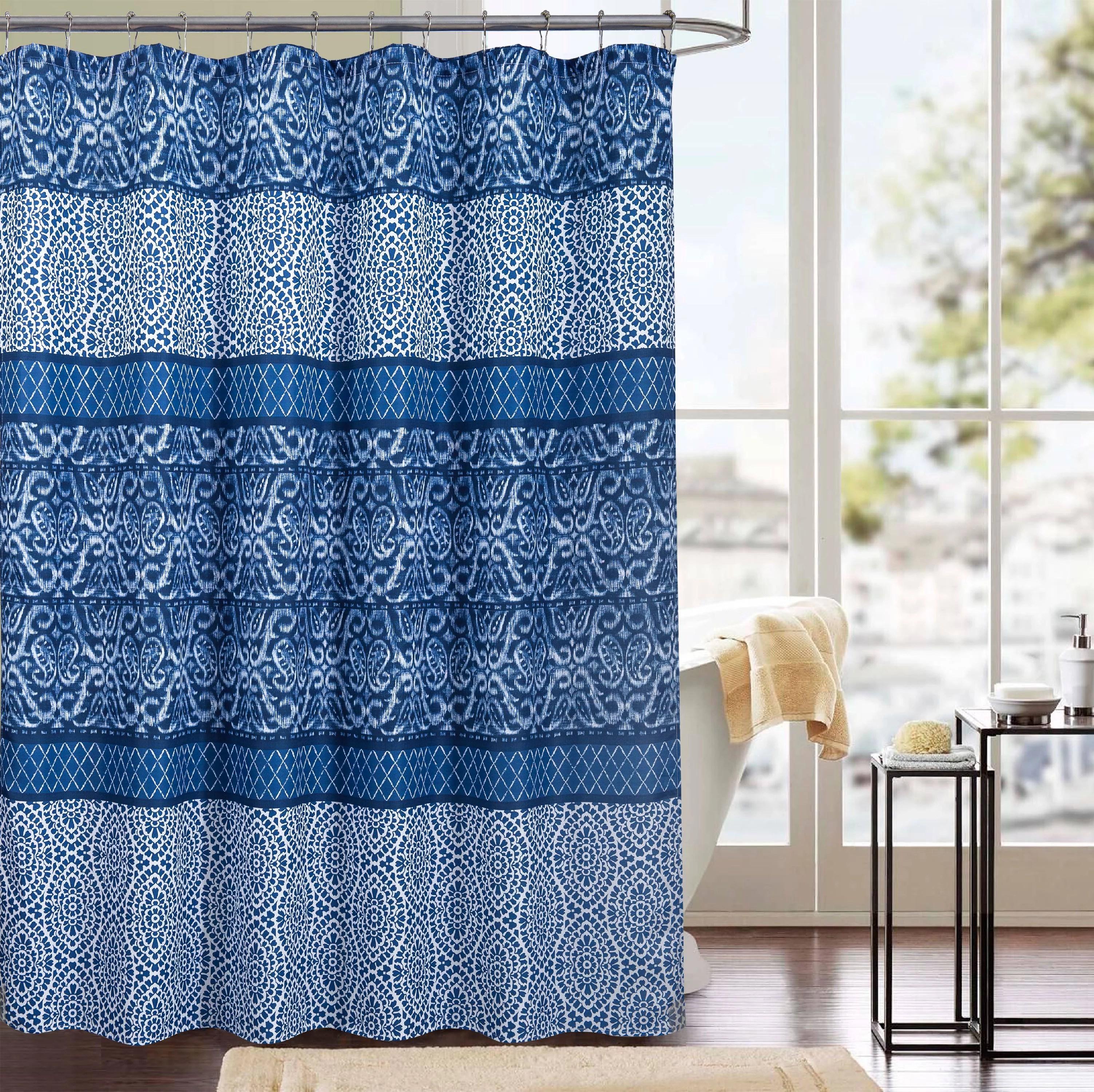 clermont printed canvas 13 piece shower curtain set