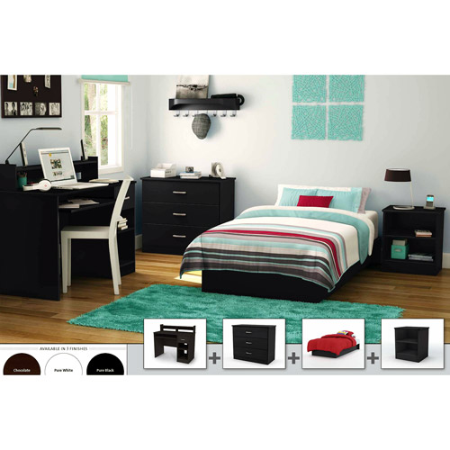 south shore smart basics 4-piece twin bedroom set, multiple