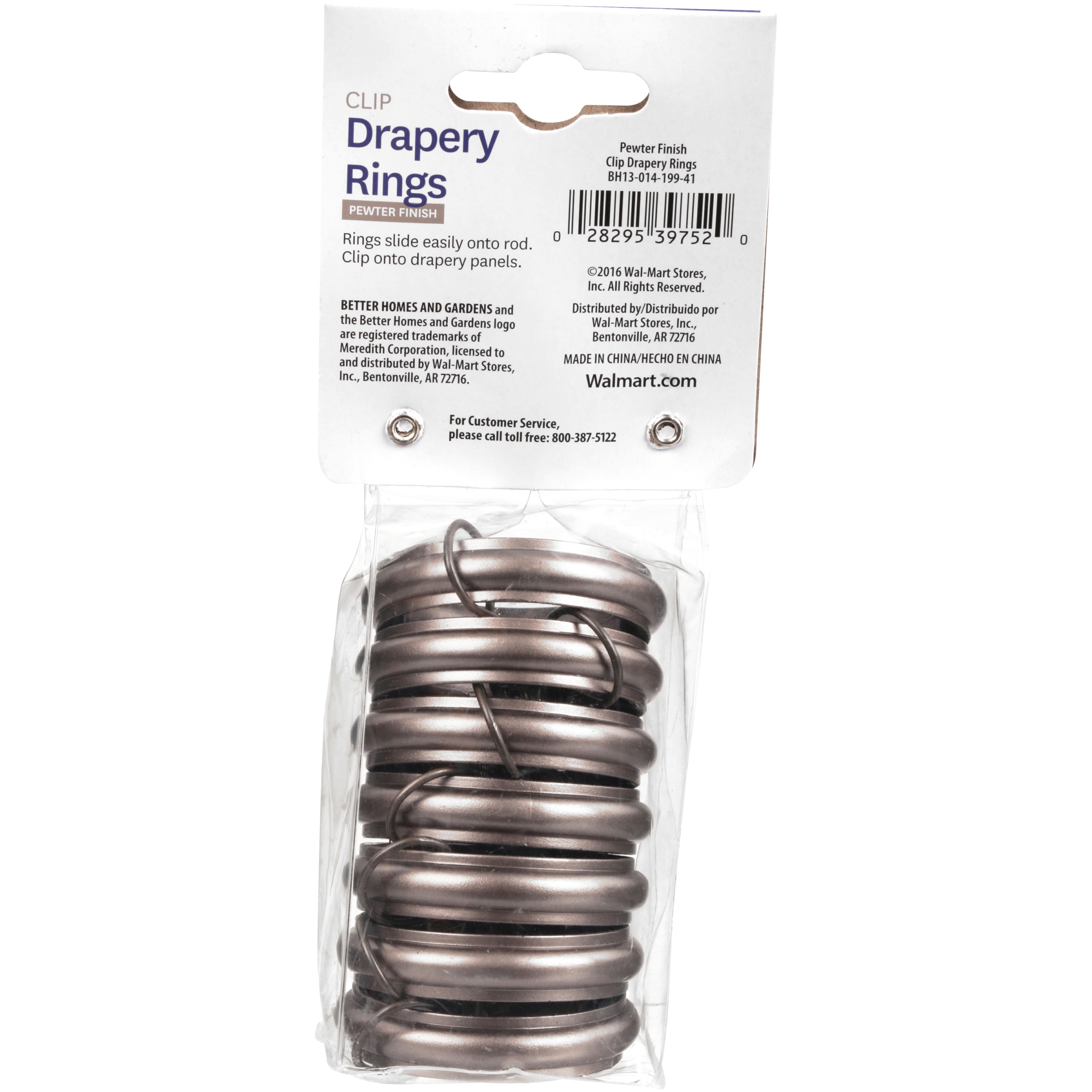 better homes gardens metal curtain rings brown 7 pieces