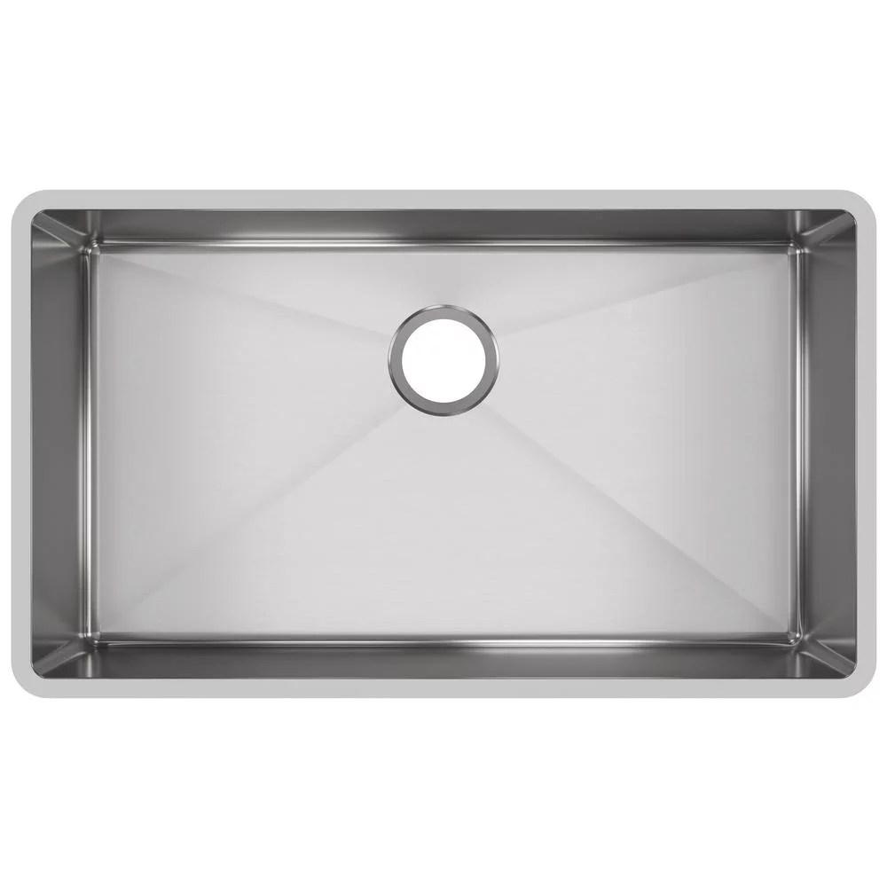 elkay crosstown undermount stainless steel 32 in single bowl kitchen sink with center drain walmart com