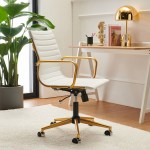 Luxmod Mid Back Gold Office Chair In White Leather Adjustable Swivel Chair In Durable Vegan Leather Ergonomic Desk Chair For Extra Back Lumbar Support Modern Executive Chair Walmart Com Walmart Com