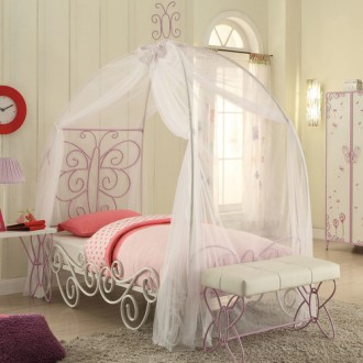 Acme Priya II Twin Canopy Bed  White and Light Purple   Walmart com Acme Priya II Twin Canopy Bed  White and Light Purple