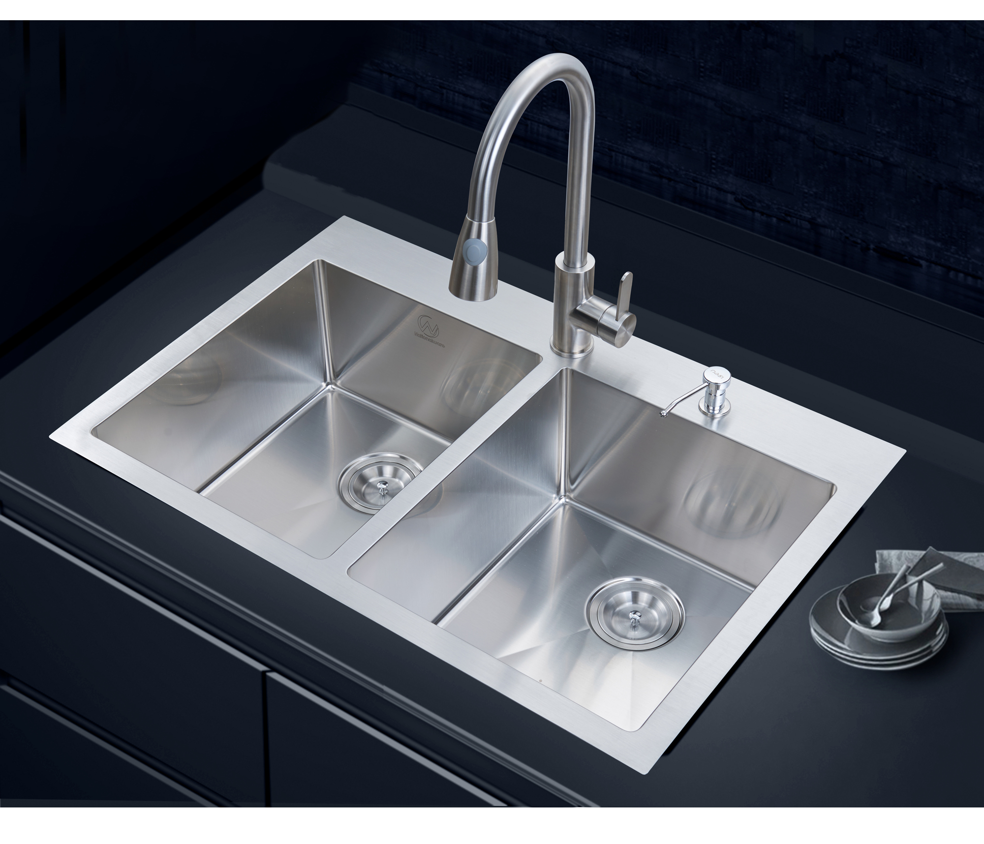 stufurhome nw 3322do 33 in overmount stainless steel 2 hole double bowl kitchen sink