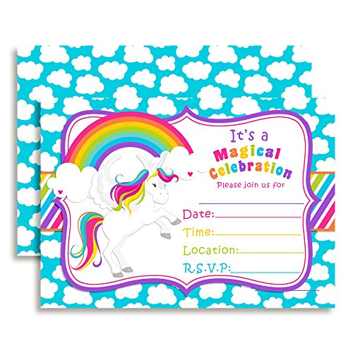 rainbow unicorn birthday party invitations 20 5 x7 fill in cards with twenty white envelopes by amandacreation