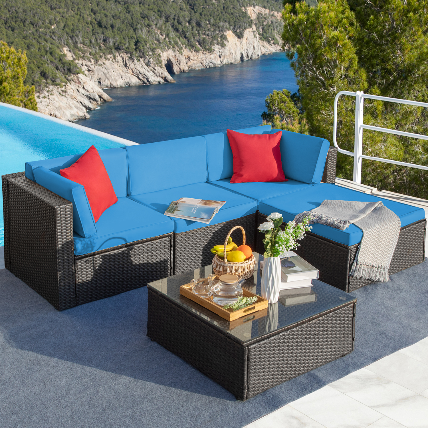 lacoo 5 pieces patio conversation set rattan outdoor sectional set with chushions and table blue