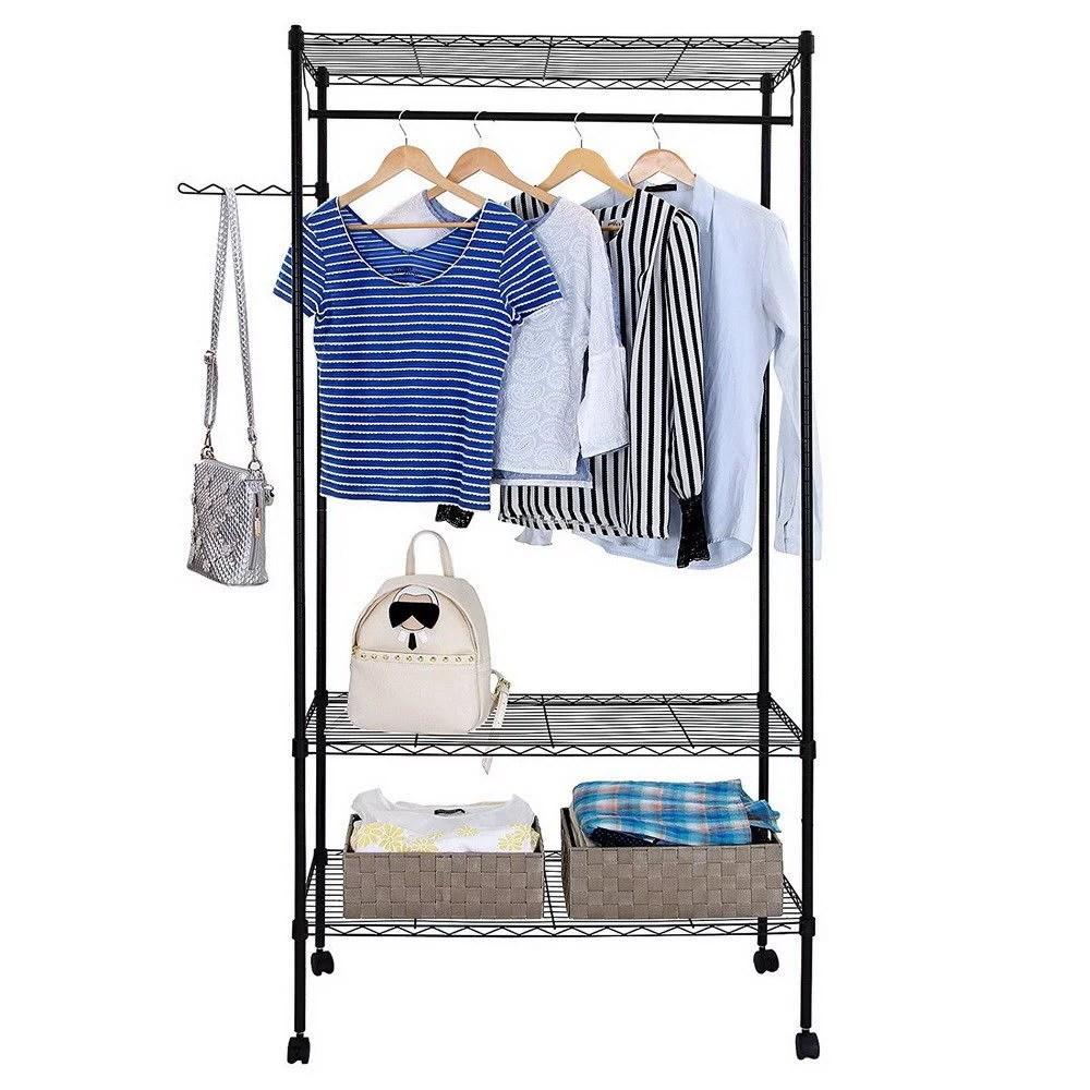 zimtown closet system storage organizer garment rack portable clothes hanger dry shelf