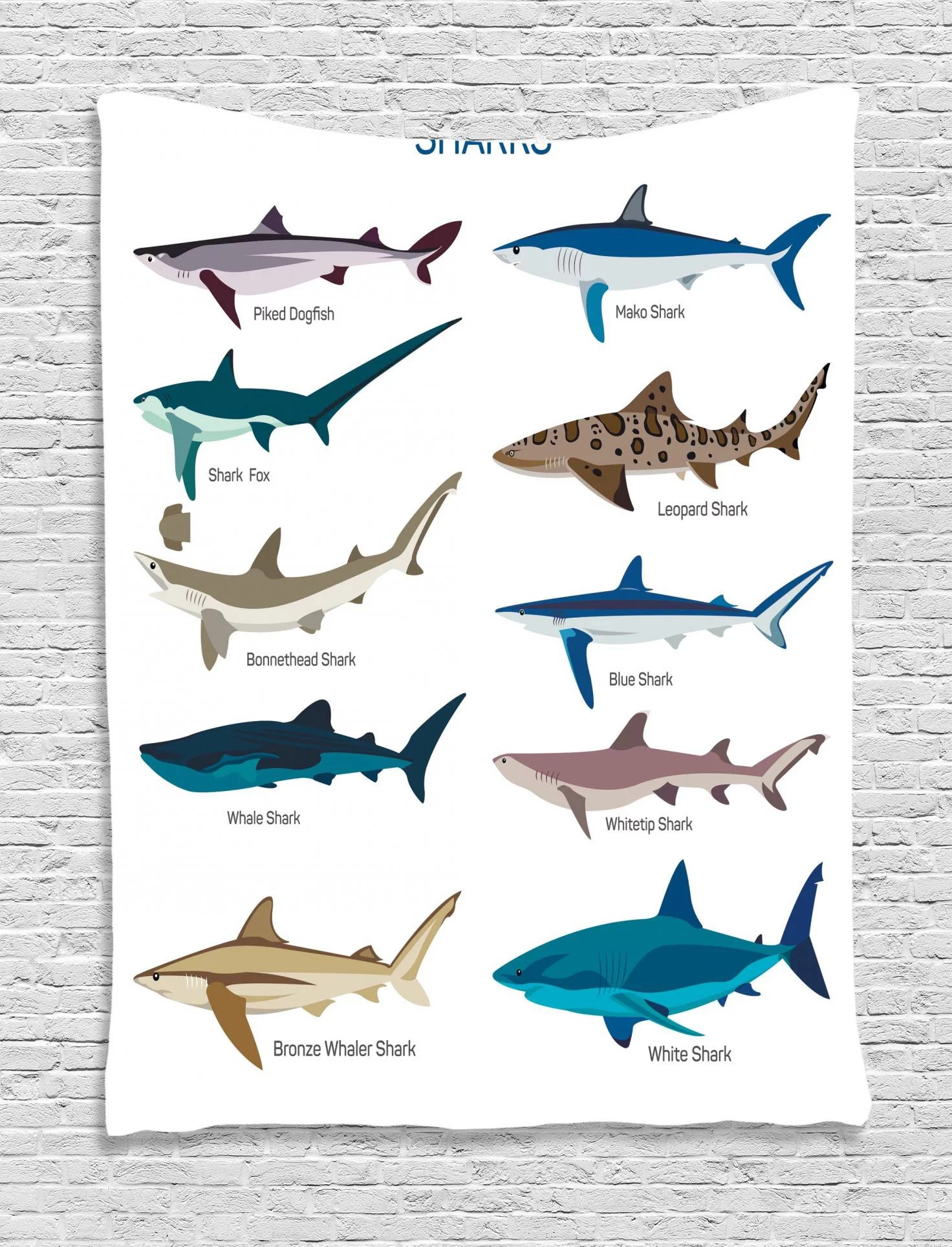 Shark Tapestry Types Of Sharks Bronze Whaler Piked