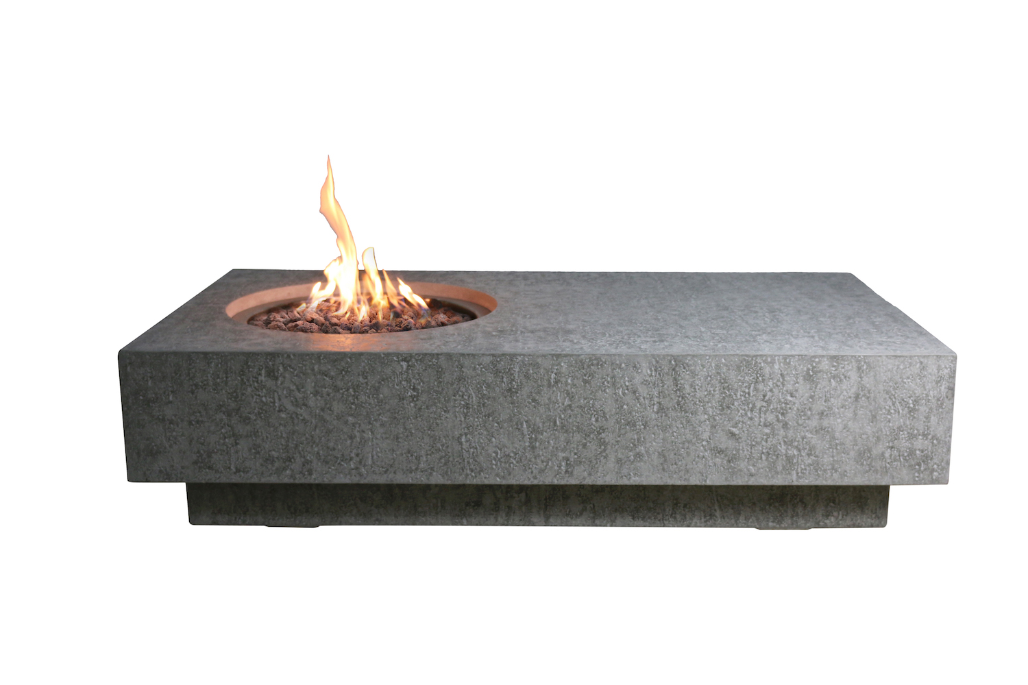elementi outdoor metropolis fire pit table 56 x 32 inches grey durable fire bowl glass reinforced concrete rectangle fire table natural gas patio fire