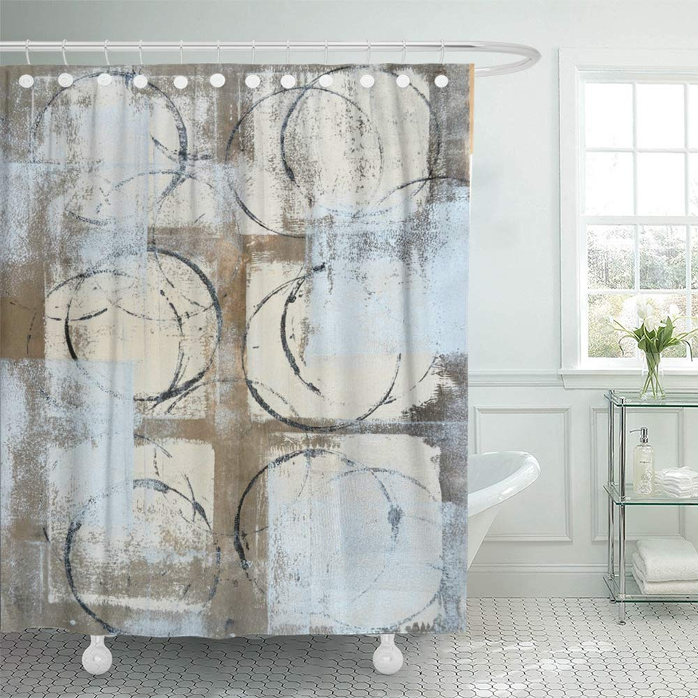 pknmt brown modern grey beige abstract painting gray black circles contemporary lines bathroom shower curtain 66x72 inch walmart com
