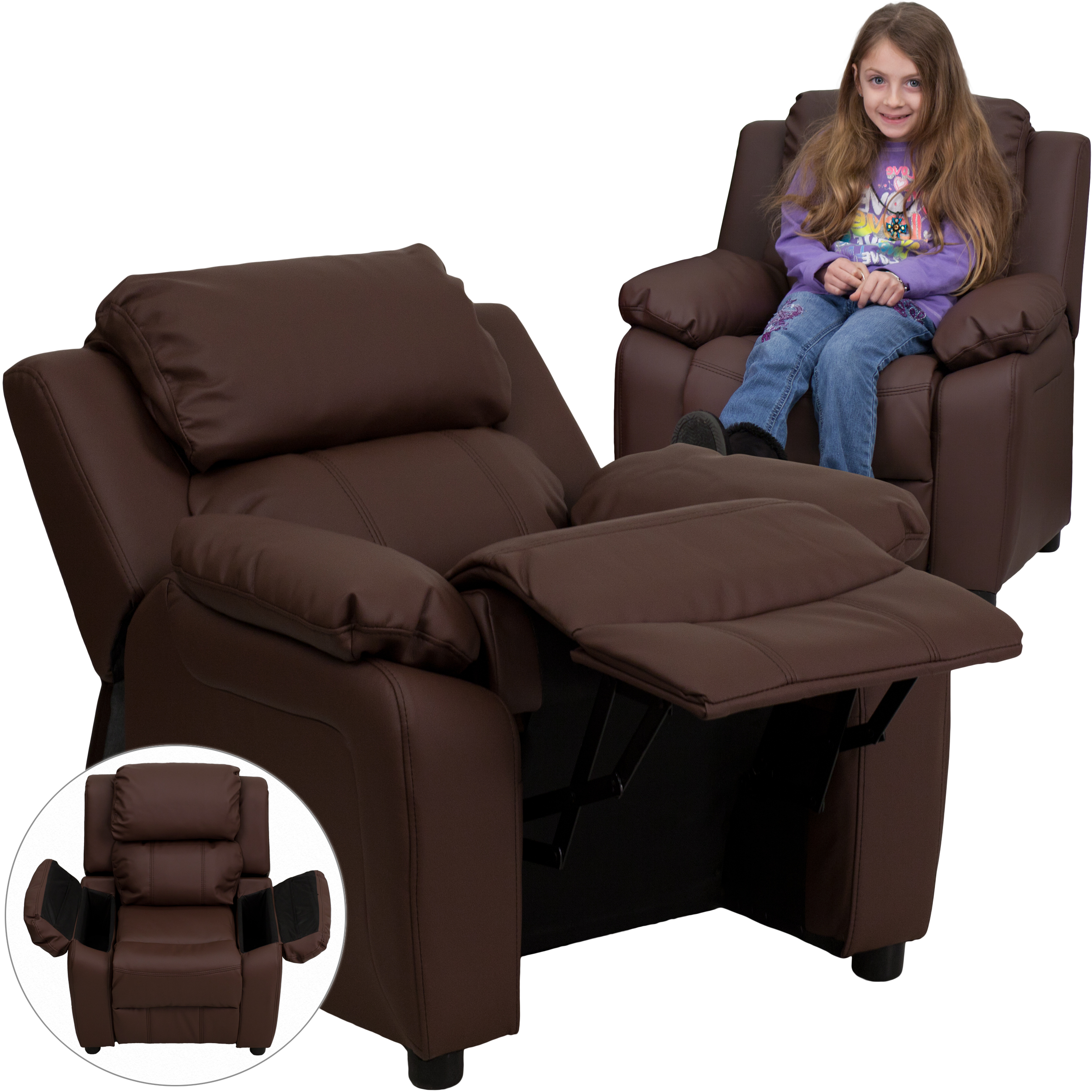 flash furniture standard leather with storage recliner brown