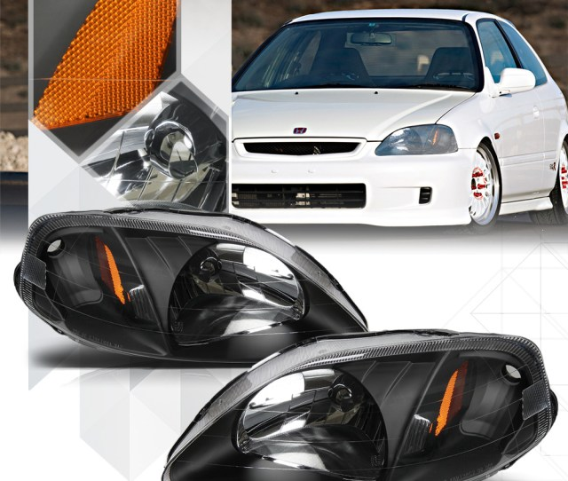 Black Housing Headlight Amber Corner Turn Signal Reflector For 99 00 Honda Civic